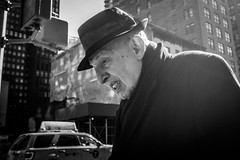 (Damien Sass) Tags: america streetphotography newyorkcity people urban usa unitedstates 5thavenue manhattan ricohgr camera 28mm winter man monochrome fedora contrast coat backlit high portrait candid