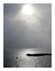 the sun and the moon (Carolyn Saxby) Tags: ocean light sea sunlight island cornwall yacht earlymorning mousehole shimmer notblackandwhite stclementsisle carolynsaxby