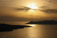 Golden sunset (claugrodriguez) Tags: ocean sunset mountain metal gold boat dusk santorini greece landscapephotography