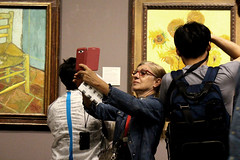 Vincent and Me 4 (tezzer57) Tags: woman art painting gallery candid nationalgallery sunflowers magicmoments vincentvangogh