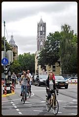 utrecht (gerben more) Tags: road street church netherlands bike bicycle utrecht domtoren cyclist dom nederland streetlife streetscene cycle kerk