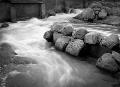 Flow (markorsr) Tags: 150 acros100 fujifilm m645 mamiyam645 rodinal water flow powerplant waterfall rock rocks bw