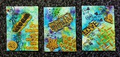 ATC's for Swap (CraftyBev) Tags: atc brusho relief paste stamping stencils stickles