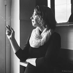 Woman's Smoking (Alexis Cayot) Tags: scanned macro femme 120 ef smoke g blanc trix fashion yashica 150 alexis l film markii 5d canon cayot woman mat argentique smoking noir rodinal 124 400 bw 6x6 100 analog kodak carre square