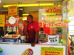What's more enticing than a FRENCH FRY DELIGHT? (kennethkonica) Tags: indianastatefair people persons fairs outdoor colors marioncounty midwest america usa canonpowershot canon indiana indianapolis indy festival festive fun summer kennethkonica vendor work worker signs yellow talking hands windows man food grill eat