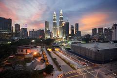 A fine day at Kuala Lumpur City (HakiimMislam) Tags: sunset sun setting kualalumpur malaysia digitalblending hdr city cityscape