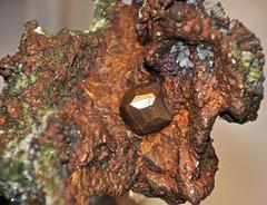 Copper crystal in copper mass (Mesoproterozoic, 1.05-1.06 Ga; Ahmeek, Upper Peninsula of Michigan, USA) 1 (James St. John) Tags: lake crystal native michigan upper copper mineral series portage peninsula volcanic element precambrian ahmeek proterozoic mesoproterozoic