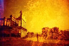 -Bloom in ruin (Hodaka Yamamoto) Tags: building silhouette spring lomo lca lomography doubleexposure ruin double lomolca multipleexposure cherryblossom cherryblossoms doubles multiexposure redscale