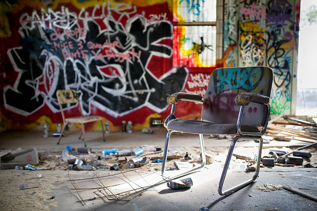 5a37fa323646 Collaborative Space (QuikSink) Tags  lighting old abandoned yard industrial  chairs exploring sunny australia