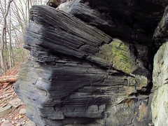 layers and folds (Hank Rogers) Tags: cliff abstract nature water stone iceage forest amazing rocks angle natural flood pennsylvania erosion formation pa fault land weathered layers folded fold geology tilt biblical ransom incline eroded weathering fallingsprings geological landform greatflood geologic watergap