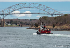 Just tugging along (TominCT) Tags: bridge canal massachusetts bourne tugboat tug sagamore capecodcanal barnstablecounty