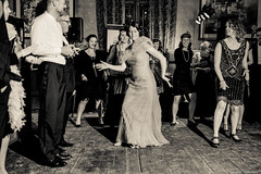 Dancing the charleston (Hans Dethmers) Tags: wedding ladies blackandwhite monochrome flickr dancing zwartwit charleston twenties weddingphotography bruidsfotografie hansdethmers theroarytwenties