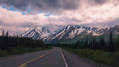 Road to Denali (Enzymatic RXN) Tags: road park travel vacation sky mountain snow alaska clouds roadtrip national fujifilm denali xe1