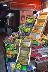 Fruit Stand on the Rue Monge (AntyDiluvian) Tags: trip 2015 france paris latinquarter street ruemonge night fruit fruitstand