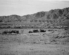 Along The Desert (Shot by Newman) Tags: arizona bw mountain southwest 35mm daylight view mountainside ilford ilforddelta400 rockformations mojavedesert shotbynewman