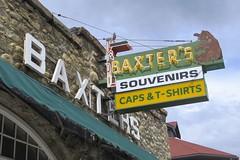 Baxter's in Jasper (Patricia Henschen) Tags: park canada sign vintage souvenirs neon jasper caps parks alberta tshirts jaspernationalpark parkscanada baxters capstshirts