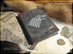 Handmade Leather Heraldic Diary Game of Thrones: Stark (SvetliySudarWorkshop) Tags: game leather grey design blood wolf handmade diary craft got stark thrones heraldic