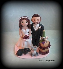 Wine Theme Wedding Cake Topper (Trina's Clay Creations) Tags: art sculpture weddingcaketopper wedding caketopper customcaketopper clayfigure claycaketopper brideandgroom trinasclaycreations trinaprenzi topper polymerclay personalized pet dog cat dachshund winebarrel wineglasses winetheme winebottle grapes destinationwedding vinyard