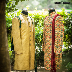 traditional sherwani (menswear by Ravi Gupta) Tags: ravigupta delhi india bespoke sherwanis maroon green indianprints modern summer weddings maharaja dashofcolors indianculture menswear colourful silk designer groomswear outdoor shoot royal classic shaadisaga weddingsutra weddingplz wedmegud weddingbrigade desidairies