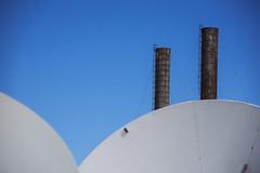 twin peaks (Greg Rohan) Tags: urbanphotography photography d7200 2016 balmain powerstation satellitedish chimneys chimney towers twinpeaks