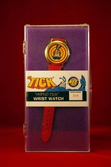 1995 The Tick Hypno-Tick Wrist Watch (Front) (vsndesigns) Tags: the tick pencil indie shocker gbjr toys with tie and tshirt zombie in a steel box fox promotional totally kids magazine 45 club spoon taco bell meal commercial eli stone ben edlund little wooden boy comic book merchandise rare limited edition 80s 90s collector museum naked super hero heroine funny comedy tv color thetick indoor surreal cartoon coffee mug ceramic cup black blue text poster illustration collection sketch cover white necpress