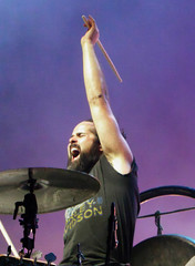 Vannucci (peterkelly) Tags: digital canada northamerica festival music musician barrie ontario oromedonte wayhomemusicartsfestival wayhome ronnievannuccijr thekillers arm up yelling shouting drumstick drumming drummer drum cymbal kit beard