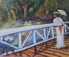 KROYER VISIT MONET (tomas491) Tags: kroyer monet flowers trees bridge girl women umbrella calla callor waterlily pond swan art oipainting surreal fantasy summer sunshine painting drawing