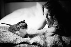 Jeanne & Lo (LindaRaymond) Tags: athome bw cat beautifulgril tenderness
