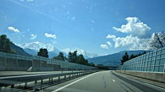 En route to Chamonix (AmyEAnderson) Tags: highway autoroute mountains landscape france europe alps snowcapped barrier guardrail view windshield reflection rhonealpes montblanc scenic