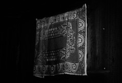 (Frida J) Tags: window lace curtain black white decay dark interior