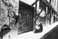 The Street Artist (robinguymer) Tags: film bw blackwhite art nikonfe2 streetart leitz laneway