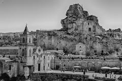 St. Peter and St. Paul (Dean Ayres) Tags: basilicata chiesadeisantipietroepaulo italia italy matera blackandwhite church rockface