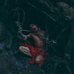 Trapping Pit (Carlos Castaeda') Tags: blue red man tree animal flesh creek photoshop dark death spider los pain blood alone forrest skin angeles roots rope malibu explore fabric wicked cave editing prey creature trap webs whimsical fineartphotography darkart vulnerable suffer conceptualphotography brookeshaden trappingpit