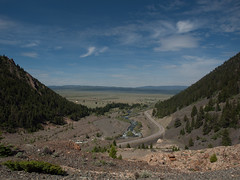 View down the Madison from the Earthquake Memorial (Christopher J. Earle) Tags: road mountains forest scenery meadow landslide geology agriculture plain alluvialprocesseslandforms