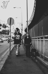 Tris di strada (Rockyge89) Tags: street city blackandwhite bw italy blackwhite strada italia fuji liguria streetphotography genoa genova fujifilm trio tris bianconero biancoenero citt fujixe2