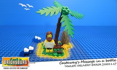 Castaway's Message in a bottle (EVWEB) Tags: lego minifigures island sea wave castaway message bottle beach summer humor fun mailer delivery error email man palm