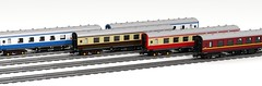 Four BR mk1 FK coaches in various liveries 8x58 (wes_turngrate) Tags: lego model moc britishrailmk1 br coach carriage car railway