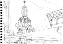 London, Greenwich, the Clock Tower from the Mitre pub terrasse (Croctoo) Tags: croctoo croctoofr croquis crayon london greenwich