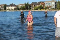 2016July24-IM703 172 (Dawn - Pink Chick) Tags: pinkchick 2016 july242016 calgaryim703 im703 halfironman 703 run runners running swim swimming cycling bike triathlon auburnbay calgary alberta imyycimcalgaryyycevents