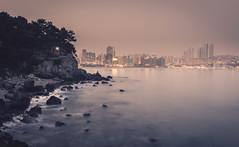 Haeundae - Busan (Bunaro) Tags: mermaid haeundae busan south korea asia beach summer evening sunset dusk long exposure waves sea ocean water waterscape landscape cityscape