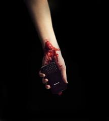 No Service. (Brianne Hardcastle) Tags: blood gore horror scary creepy technology truth light dark self portrait fate faith help nikon d600 50mm lens cropped