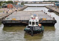 Haven Supporter (1a) @ KGV Lock 09-08-16 (AJBC_1) Tags: royaldocks kgvlock london havensupporter dlrblog ajc newham kinggeorgevlock northwoolwich londonsroyaldocks londonboroughofnewham eastlondon docklands england unitedkingdom uk ship boat vessel marineengineering nikond3200 tug tugboat collinswateragelighterage gallionspoint pontoon stantug1205 damen damenshipyardsgroup williamsshipping wilcarry1711