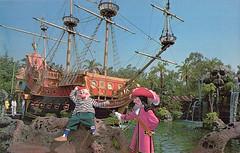 Wicked Captain Hook - front (Tom Simpson) Tags: captainhook mrsmee disneyland postcard vintage disney vintagedisney vintagedisneyland captainhookspirateship chickenoftheseapirateship restaurant fantasyland pirateship peterpan