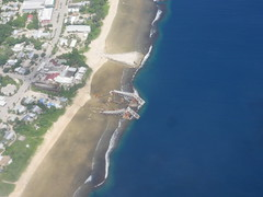 Nauru's shoreline with The phosphate plant.