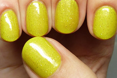 Marbles For Polish Sparkling Lemon Drop (http://www.thepolishedhippy.com) Tags: yellow glitter for swatch neon nail polish indie marbles etsy scattered holographic varnish swatches lacquer holo
