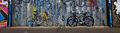 Eyeing each other up (paulquance) Tags: street new old england streetart black bike bicycle yellow graffiti team birmingham bikes raleigh banana retro bicycles british floodgate racer sku digbeth custardfactory 3bs