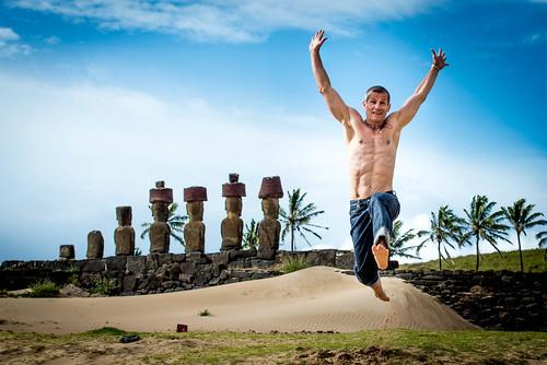 Ahu Nau Nau, Anakena Beach, Easter Island, Chile.