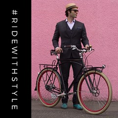 How I roll, Take 2. Dress with your destination in mind and express yourself! Save the spandex for training rides and hair band tribute concerts!  Another great photo by @alphalalala. (Paul Krueger) Tags: instagramapp square squareformat iphoneography uploaded:by=instagram cyclechic cycling vancouver bikefashion fashion bikeyvr bikevancouver cyclewithstyle suit pink hat sycip bikestyle style vancouverfashion momentummagazine