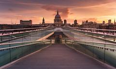 Cathedral Bridge (scott.hammond34) Tags: city uk bridge sky cloud sunlight london skyline architecture sunrise colorful exposure cityscape outdoor milleniumbridge stpaulscathedral