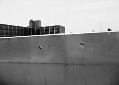 view from subway station (-{ ThusOriginal }-) Tags: city nyc blackandwhite bw building monochrome digital platform antena concret cannonpowershots45 thusihaveseen
